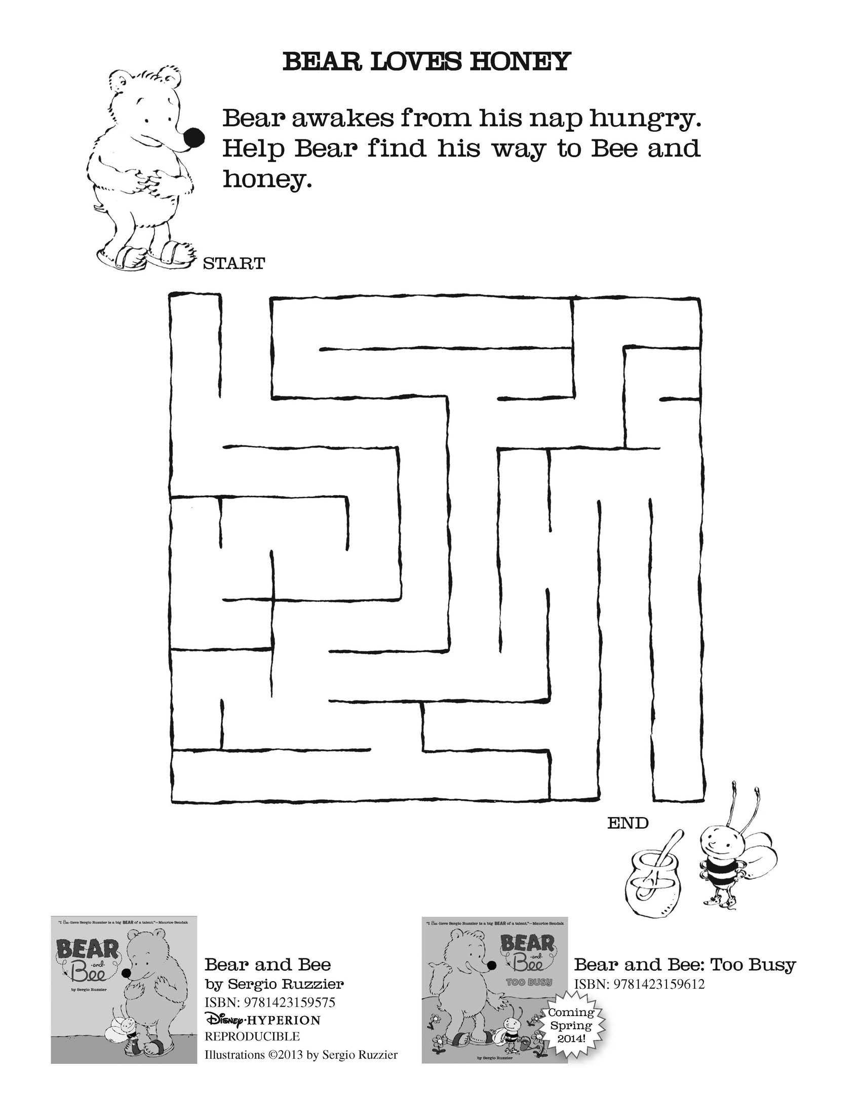 Bear and Bee activity sheets! | Sergio Ruzzier
